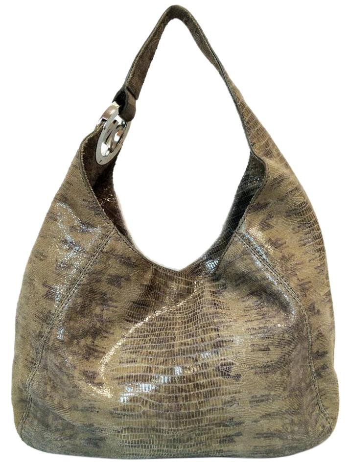 MICHAEL Michael Kors Fulton Large Slate Grey & Tan Lizard Embossed Leather Shoulder Bag 46% off retail