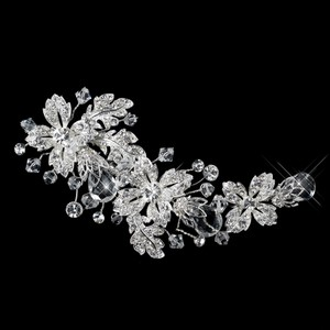 Glamorous Floral Swarovski Crystal Bead & Rhinestone Flower Wedding Bridal Clip