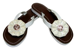 063653608 Tory Burch Cream Brown S N 12138340 Sandals Size US 6 Regular (M