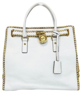 Michael Kors Gold Hamilton Leather Tote in Optic White