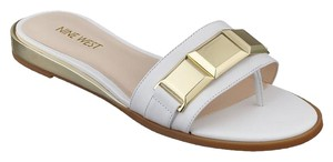Nine West White Open Toe Gold White/ Gold Flats