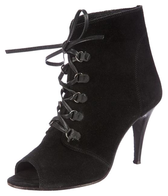 Item - Black Suede Leather Lace Up Peep Toe Ankle 37 Boots/Booties Size US 7 Regular (M, B)