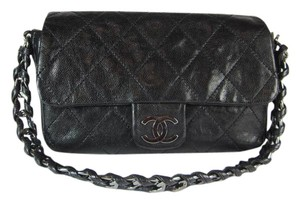Chanel Black Cc Leather Caviar Quilted Shoulder Bag