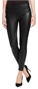 Ann Taylor Ankle Length Side Zip Leather Faux Leather Petite black Leggings