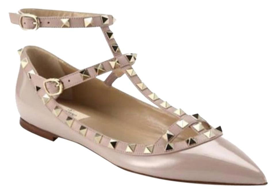 9d27db01d4d13 Valentino Nude 36 Blush Beige Poudre Rockstud Patent Leather Cage ...
