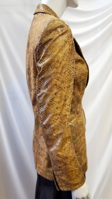 Escada New 2008 Collection Animal Snakeskin Reptile Embossed Goat Suede Leather Jacket Small 34 Designer Rare Unique Brown Blazer