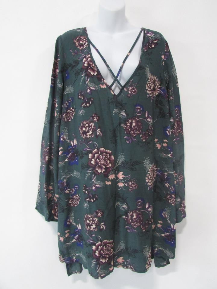 63d7a3c7402b Free People short dress Green Floral Tunic Long Sleeve on Tradesy Image 0  ...