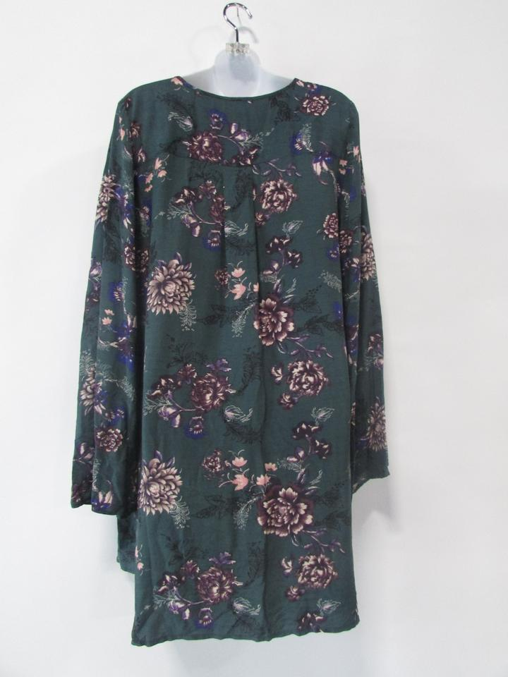 b079f2fd6991 Free People Green Floral Long Sleeve Cross Chest V-neck Tunic Short Casual  Dress