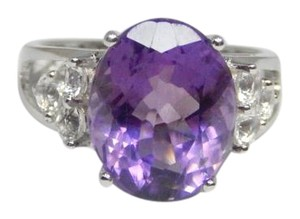 Dazzling Oval shape Starburst cut Amethyst Ring 6.5 CT Natural Precious Stone in Shank/Split-Shank Sterling Silver