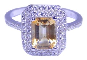 Gorgeous Emerald cut shape mm Starburst cut Citrine Ring 4 CT Natural Precious Stone in Halo Setting Sterling Silver