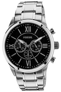 Fossil Fossil BQ1125 Men's Black Chronograph Roman Numeral Dial Silver tone Bracelet Watch NEW! $145