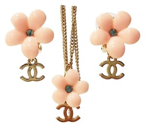 Chanel Authentic Chanel Light Pink Flower Gold CC Rhinestone Necklace and Earrings Set