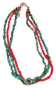 Turquoise And Red Coral Necklace 925 SS