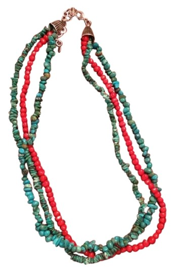 Other Turquoise And Red Coral Necklace 925 SS