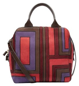 Tory Burch Suede Patchwork Leather 70's Satchel in Espresso/Purple/Red