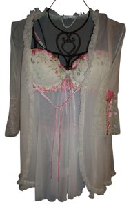 Other 3 pc set embroidered mesh chemise, robe and thong