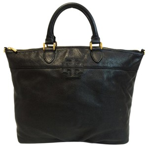 Tory Burch Pebbled Leather Satchel in Black