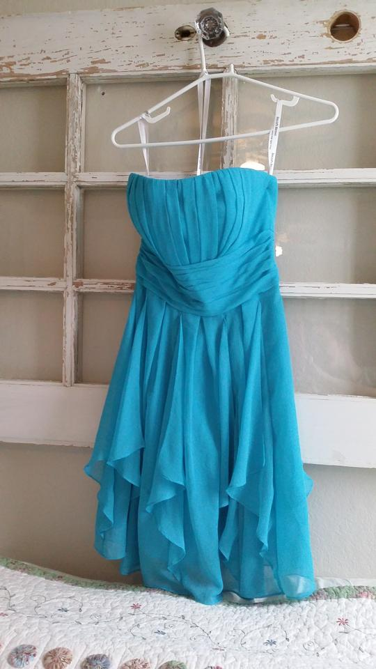 David S Bridal Malibu Blue Chiffon Strapless Layered Skirt Style F14169 Modern Bridesmaid Mob Dress Size 4 S 46 Off Retail