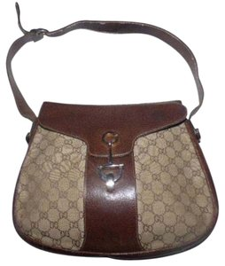 Gucci Monogram Large Logo Gold Hardware Horse-bit Accents Equestrian Accents Hobo Bag