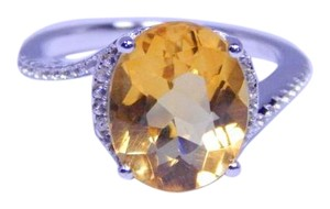 Other Alluring Oval shape mm Starburst cut Citrine Ring 4 CT Natural Precious Stone in Classical Tension Setting Sterling Silver
