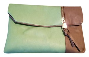 Steve Madden Gold Zipper Teal & Gray Clutch