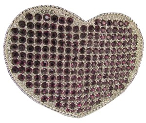 Other New Cowgirl Pretty Heart Belt Buckle Big Silver Metal Bling Purple Rhinestones