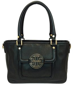 Tory Burch Amanda Mini Pebbled Leather Convertible Satchel in Black