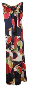 Multi Colored (Navy and Pink) Maxi Dress by Yansi Fugel Maxi Floral Print Silk