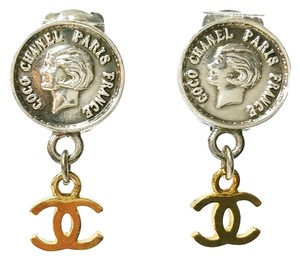 Chanel Authentic Vintage Chanel Silver CoCo Chanel Coin Gold CC Dangle Clip on Earrings