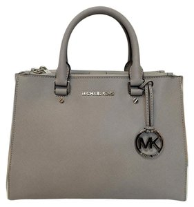 Michael Kors Specchio Sutton Grey Medium Saffiano Leather Satchel in Pearl Grey