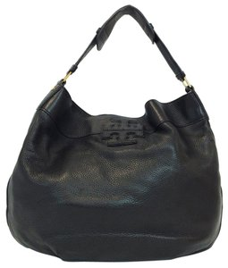 Tory Burch Pebbled Leather Stacked T Hobo Bag