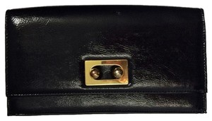 Arden B. Leather Gold Black Clutch