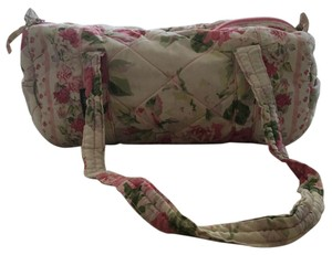 Laura Ashley Satchel in Purple, Pink, White Roses With Green Leaf Accents