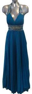 Tony Bowls Halter Pleated Beaded Dress