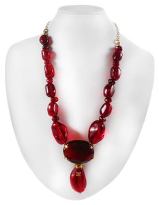 Chanel GLASS NECKLACE - RED GRIPOIX BEADS CC LOGO PENDANT CHARM GOLD 99P