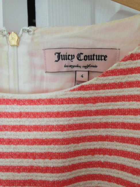 Juicy Couture short dress Coral and white tweed stripe with gold lurex on Tradesy