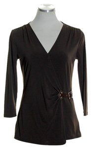 MICHAEL Michael Kors Knit 3/4 Sleeve Stretchy Top Brown
