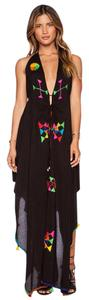Black Maxi Dress by Indah Embroidered Flowy Halter Maxi