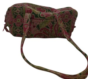 Vera Bradley Satchel in Pink, Green And White Paisley Print