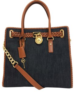 Michael Kors Whipped Stitch Tote in Denim Blue / Luggage Brown