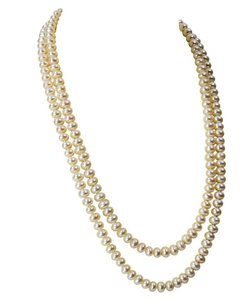 Classic Long White Pearl Necklace