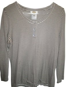 Talbots Longsleeve T Shirt Brown White Striped