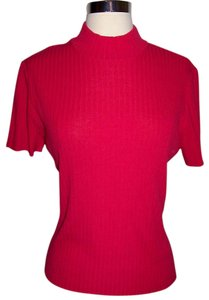 St. John Mock Neck Short Sleeve Ribbed Zipper Top Pink