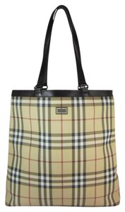 Burberry Nova Check Brown Leather Shoulder Bag
