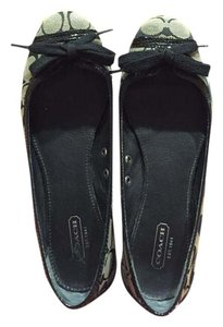 Coach Bow Comfortable Black Grey Flats