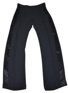 Versace Cuffed Silk Tuxedo Trouser Pants Black