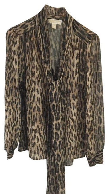 Item - Brown Multi Sheer Animal Print with Sash Tie At Neck Blouse Size 4 (S)
