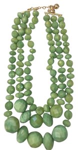 Kate Spade Kate Spade Jade Green Faceted Multi Tri Strand Bead Necklace.