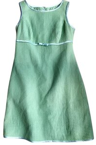 Kathlin Argiro short dress Green Sheath Size 8 Waffle Weave Bow on Tradesy