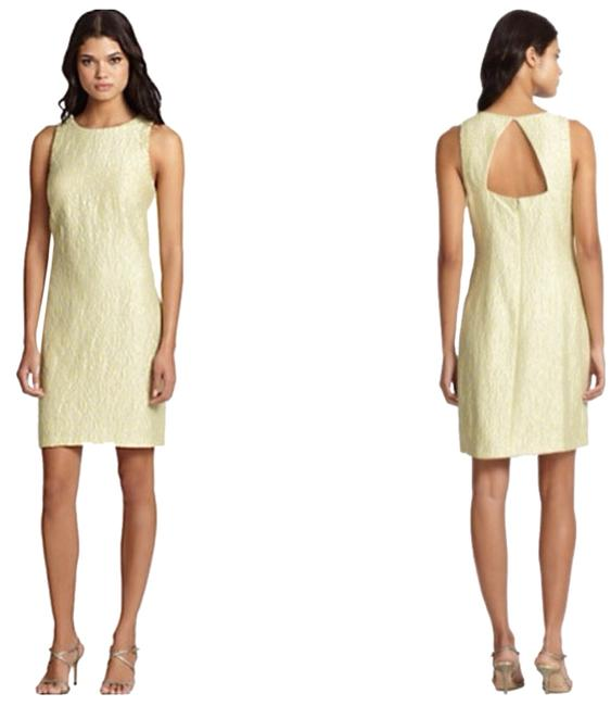 Preload https://item1.tradesy.com/images/kay-unger-citron-jacquard-sheath-cocktail-dress-size-12-l-1733750-0-0.jpg?width=400&height=650